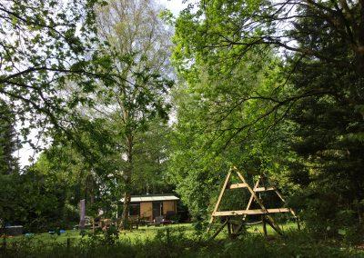 Vakantiehuis Drenthe | Uitzicht vanaf het buitenbed in het bos